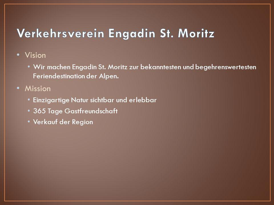 Vision Wir machen Engadin St. Moritz zur bekanntesten und begehrenswertesten Feriendestination der Alpen. Mission Einzigartige Natur sichtbar und erle