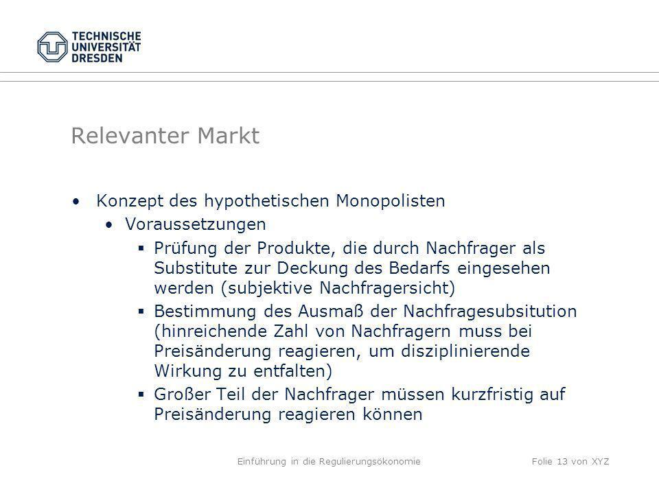 Relevanter Markt Konzept des hypothetischen Monopolisten Voraussetzungen Prüfung der Produkte, die durch Nachfrager als Substitute zur Deckung des Bed