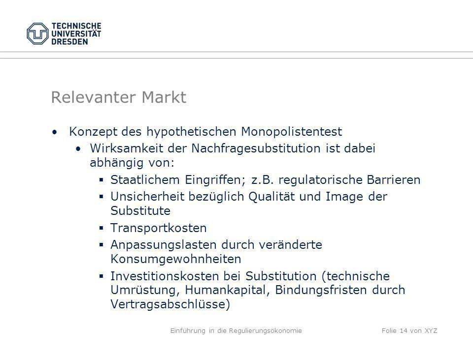 Relevanter Markt Konzept des hypothetischen Monopolistentest Wirksamkeit der Nachfragesubstitution ist dabei abhängig von: Staatlichem Eingriffen; z.B