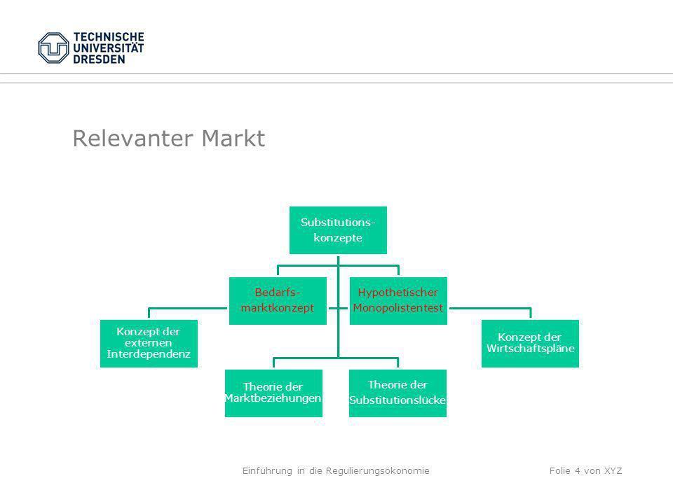 Relevanter Markt Einführung in die RegulierungsökonomieFolie 4 von XYZ Substitutions- konzepte Theorie der Substitutionslücke Theorie der Marktbeziehu