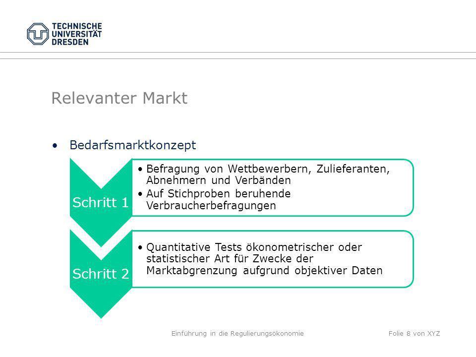 Relevanter Markt Bedarfsmarktkonzept Einführung in die RegulierungsökonomieFolie 8 von XYZ Schritt 1 Befragung von Wettbewerbern, Zulieferanten, Abneh
