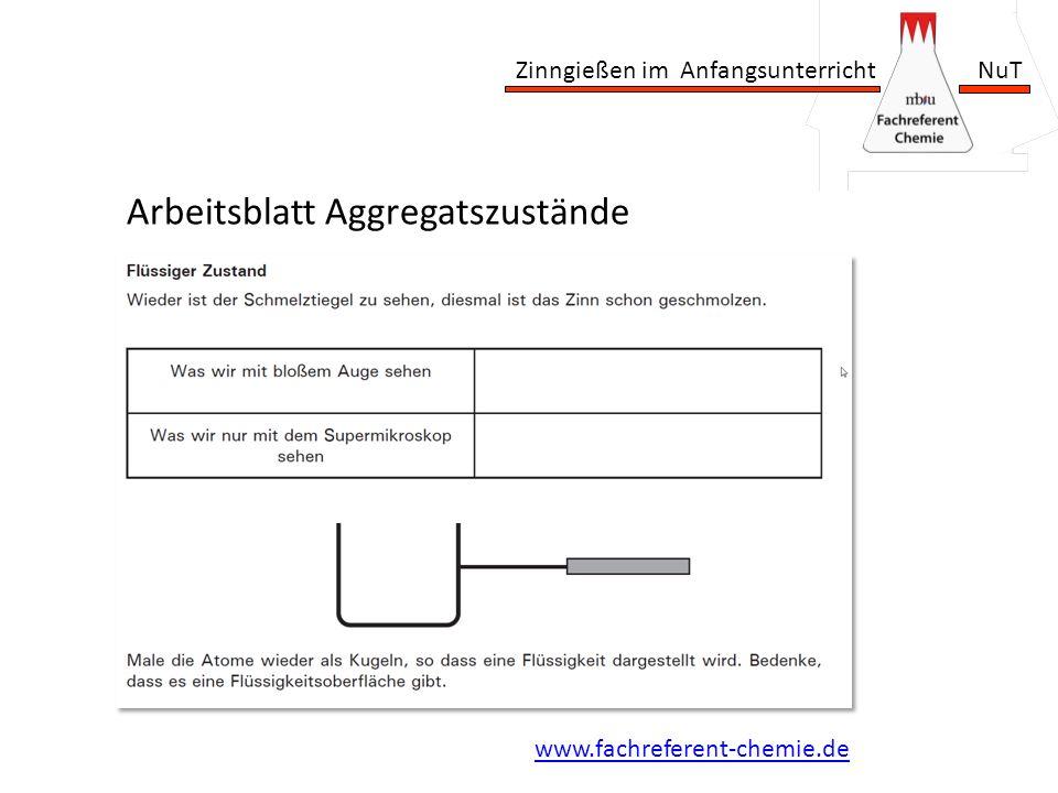 Zinngießen im Anfangsunterricht NuT Arbeitsblatt Aggregatszustände www.fachreferent-chemie.de