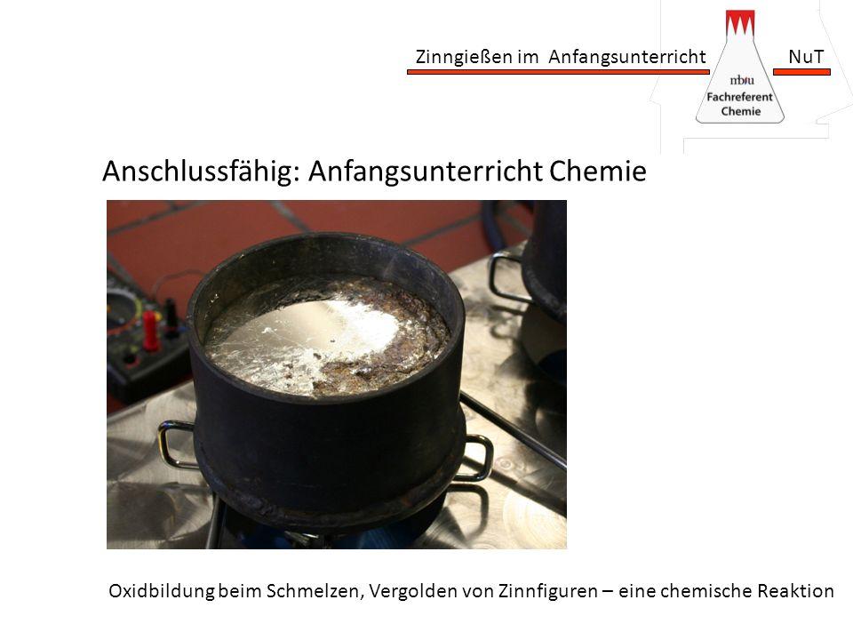 Zinngießen im Anfangsunterricht NuT Anschlussfähig: Anfangsunterricht Chemie Oxidbildung beim Schmelzen, Vergolden von Zinnfiguren – eine chemische Re