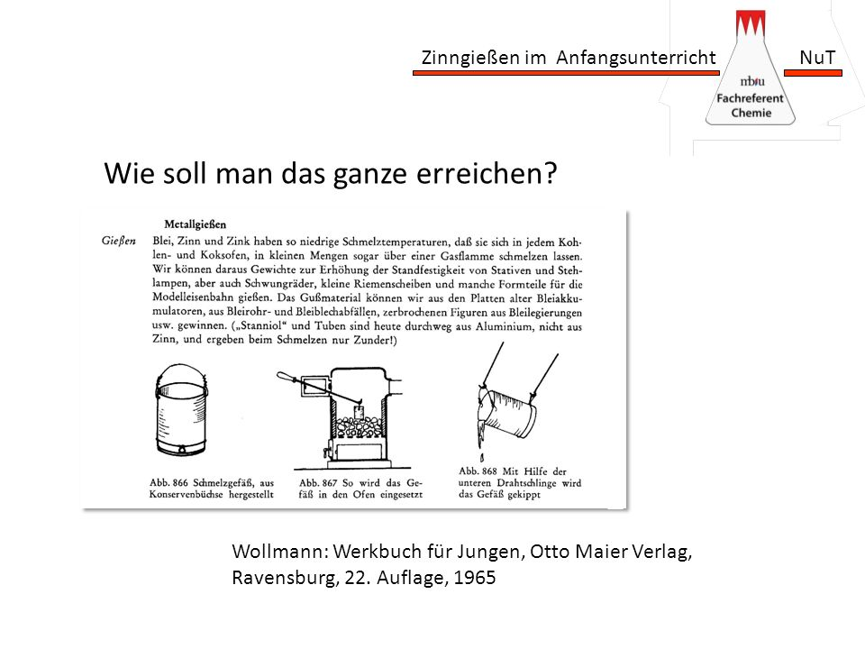 Zinngießen im Anfangsunterricht NuT Wie soll man das ganze erreichen? Wollmann: Werkbuch für Jungen, Otto Maier Verlag, Ravensburg, 22. Auflage, 1965