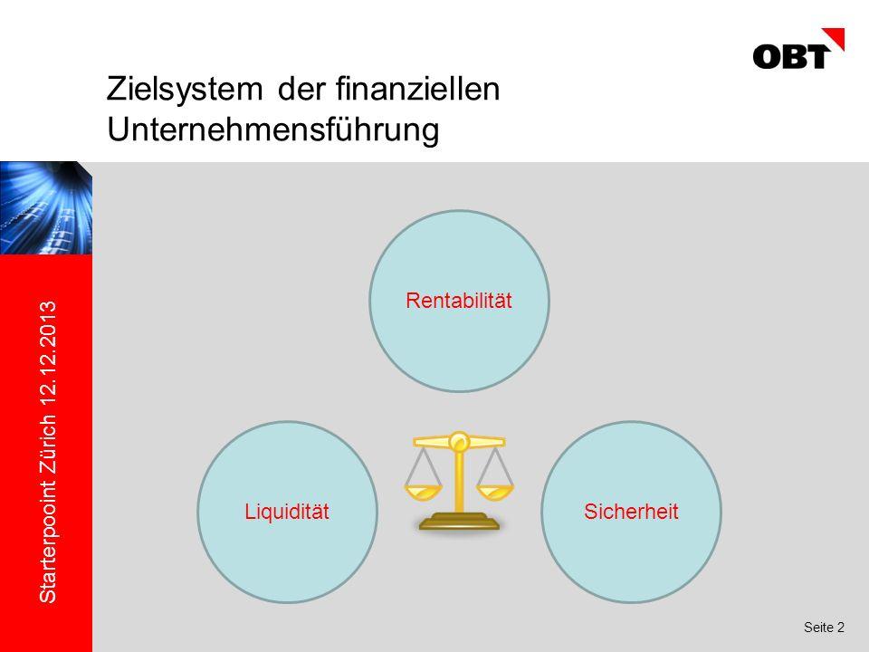 Starterpooint Zürich 12.12.2013 Seite 2 Zielsystem der finanziellen Unternehmensführung Rentabilität SicherheitLiquidität