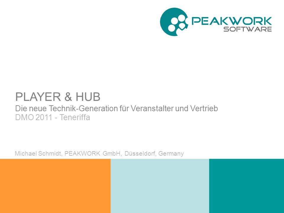 PLAYER / HUB – die neue Technikgeneration DMO 2011 - Teneriffa Michael Schmidt, PEAKWORK GmbH, Düsseldorf, Germany PLAYER & HUB Die neue Technik-Generation für Veranstalter und Vertrieb