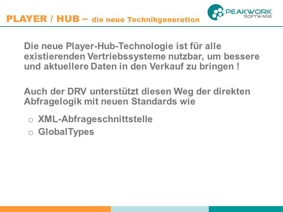 PLAYER / HUB – die neue Technikgeneration Die neue Player-Hub-Technologie ist für alle existierenden Vertriebssysteme nutzbar, um bessere und aktuellere Daten in den Verkauf zu bringen .
