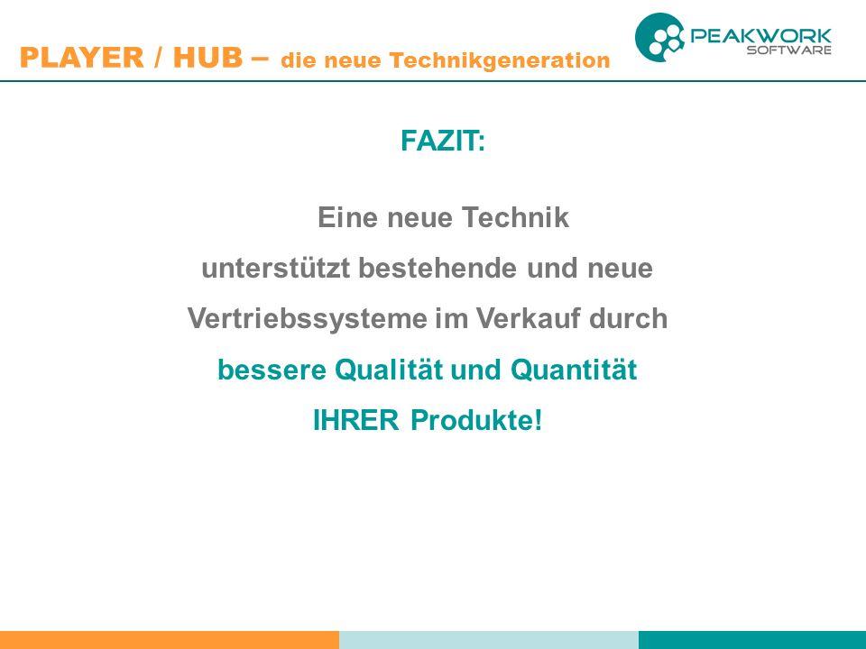 PLAYER / HUB – die neue Technikgeneration FAZIT: Eine neue Technik unterstützt bestehende und neue Vertriebssysteme im Verkauf durch bessere Qualität und Quantität IHRER Produkte!