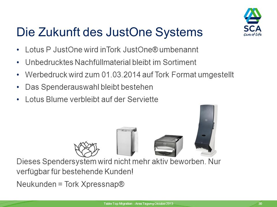 JustOne Servietten funktionieren nicht reibungslos in Tork Spendern Alle Tork Xpressnap® Servietten passen in JustOne Spender Just One Servietten passen nicht in Tork Xpressnap® Spender Table Top Migration - Area Tagung Oktober 2013