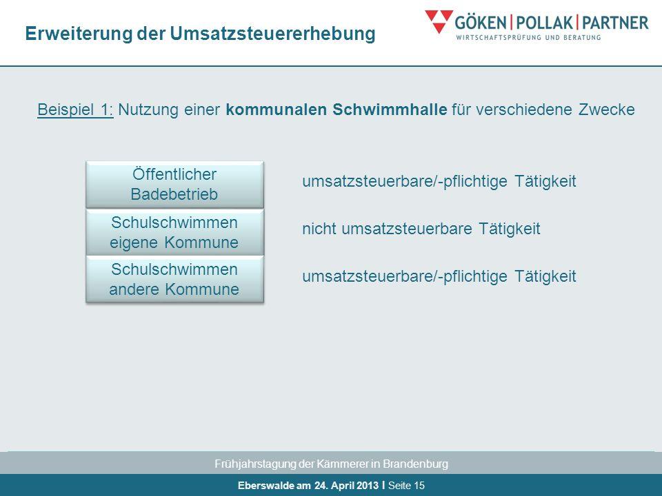 Frühjahrstagung der Kämmerer in Brandenburg Eberswalde am 24. April 2013 I Seite 15 Erweiterung der Umsatzsteuererhebung Beispiel 1: Nutzung einer kom