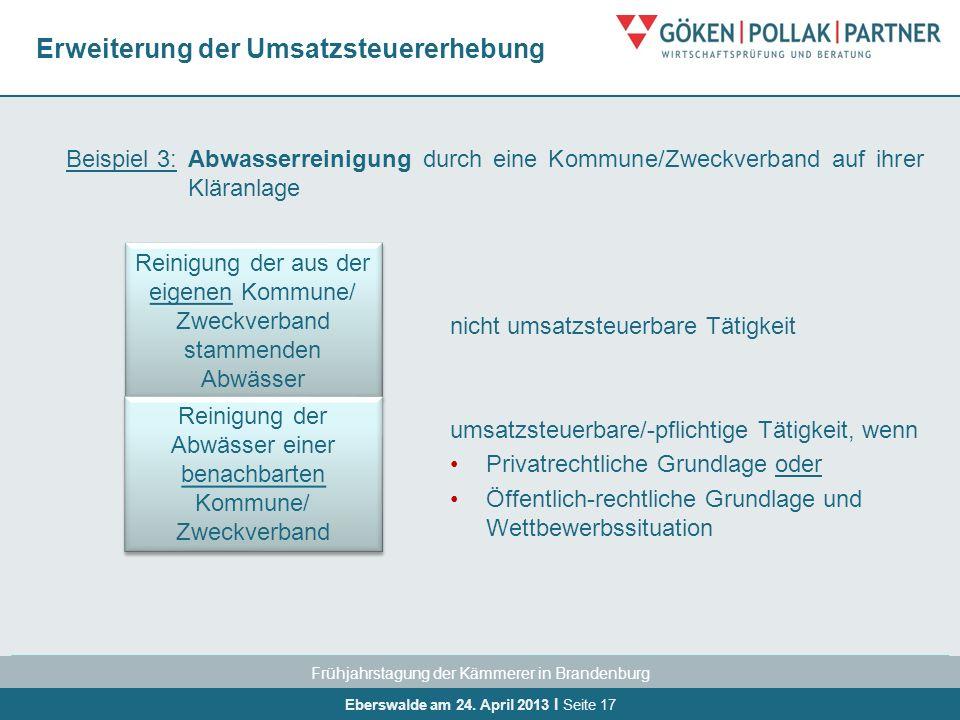 Frühjahrstagung der Kämmerer in Brandenburg Eberswalde am 24. April 2013 I Seite 17 Erweiterung der Umsatzsteuererhebung Beispiel 3:Abwasserreinigung