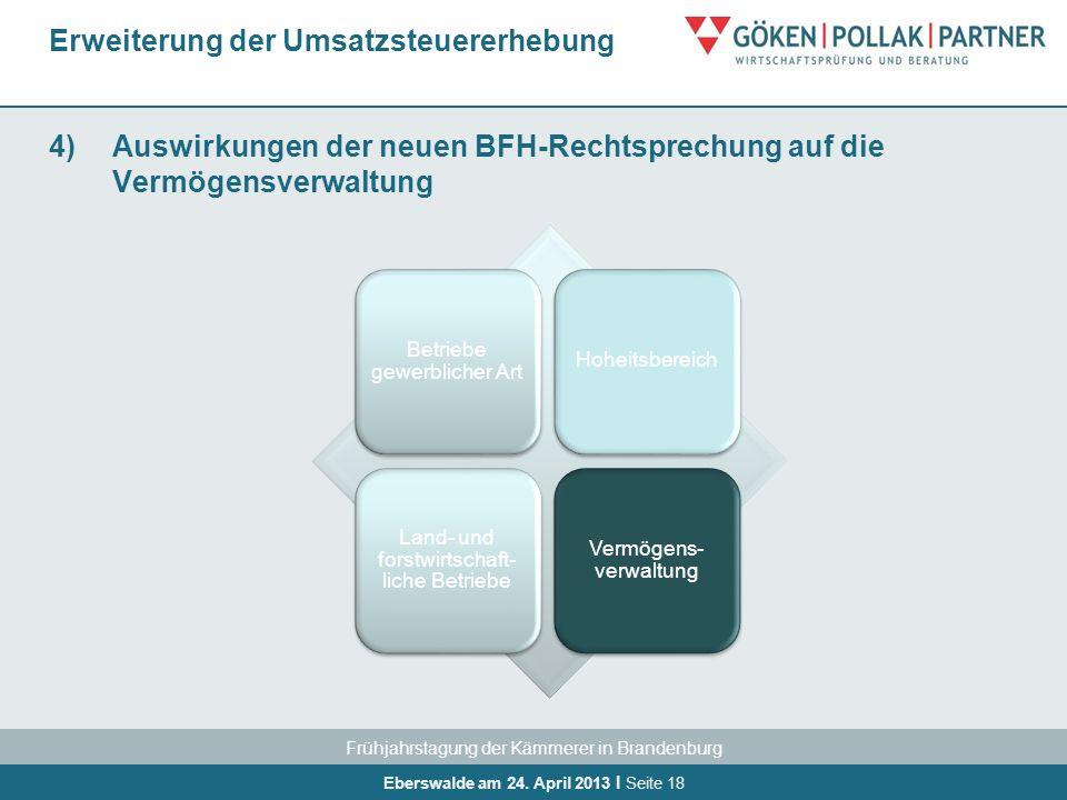 Frühjahrstagung der Kämmerer in Brandenburg Eberswalde am 24. April 2013 I Seite 18 4)Auswirkungen der neuen BFH-Rechtsprechung auf die Vermögensverwa