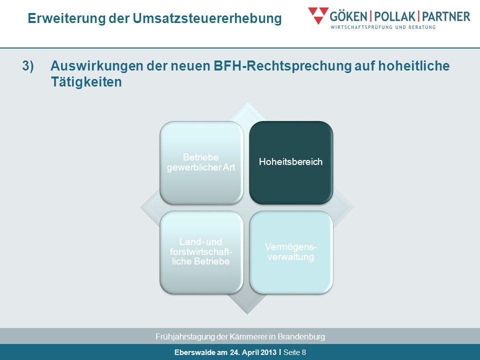 Frühjahrstagung der Kämmerer in Brandenburg Eberswalde am 24. April 2013 I Seite 8 3)Auswirkungen der neuen BFH-Rechtsprechung auf hoheitliche Tätigke