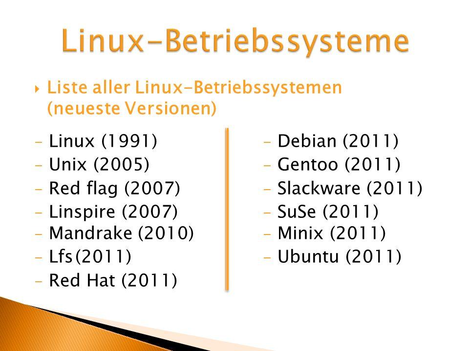 Liste aller Linux-Betriebssystemen (neueste Versionen) - Linux (1991) - Debian (2011) - Unix (2005) - Gentoo (2011) - Red flag (2007) - Slackware (201
