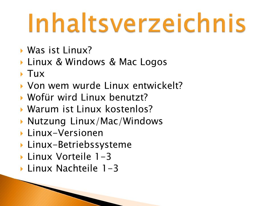 Ein kostenloses Betriebssystem, das man selber zusammenstellen kann Die wichtigste Programme im Lieferumhang vorhanden Die neueste Version kostenlos bei der eigenen Homepage zum Download verfügbar: http://www.ubuntu.com/ http://www.ubuntu.com/