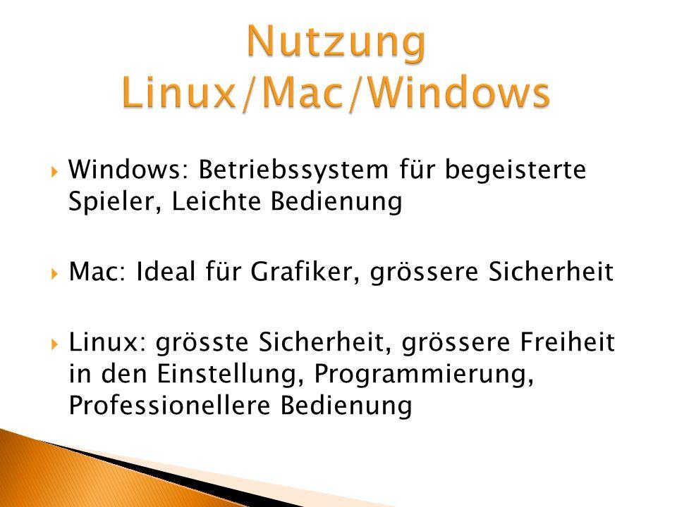 Windows: Betriebssystem für begeisterte Spieler, Leichte Bedienung Mac: Ideal für Grafiker, grössere Sicherheit Linux: grösste Sicherheit, grössere Fr