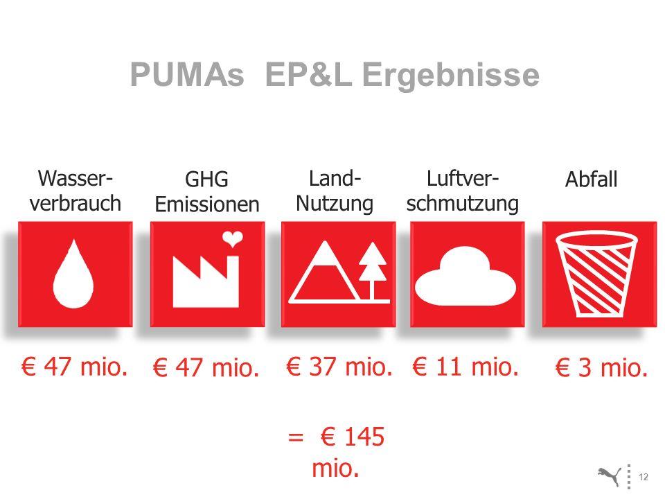 12 Luftver- schmutzung 11 mio. Land- Nutzung 37 mio. Abfall 3 mio. Wasser- verbrauch 47 mio. GHG Emissionen 47 mio. PUMAs EP&L Ergebnisse = 145 mio.