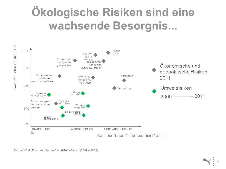 4 Ökologische Risiken sind eine wachsende Besorgnis... 1,000 500 250 100 50 Finanz Krise Schwankungen in den Verbraucher- preisen Abnehmendes Wirtscha