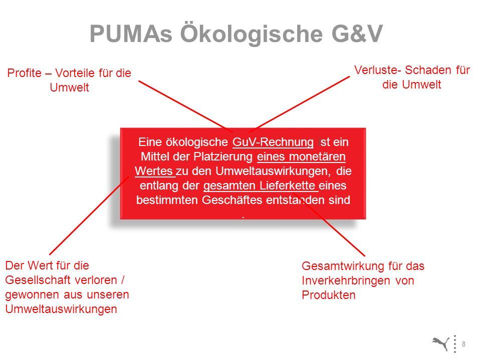 8 PUMAs Ökologische G&V Eine ökologische GuV-Rechnung ist ein Mittel der Platzierung eines monetären Wertes zu den Umweltauswirkungen, die entlang der