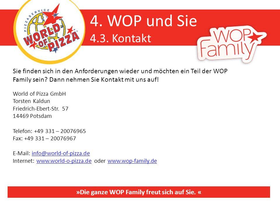 4. WOP und Sie 4.3. Kontakt Sie finden sich in den Anforderungen wieder und möchten ein Teil der WOP Family sein? Dann nehmen Sie Kontakt mit uns auf!