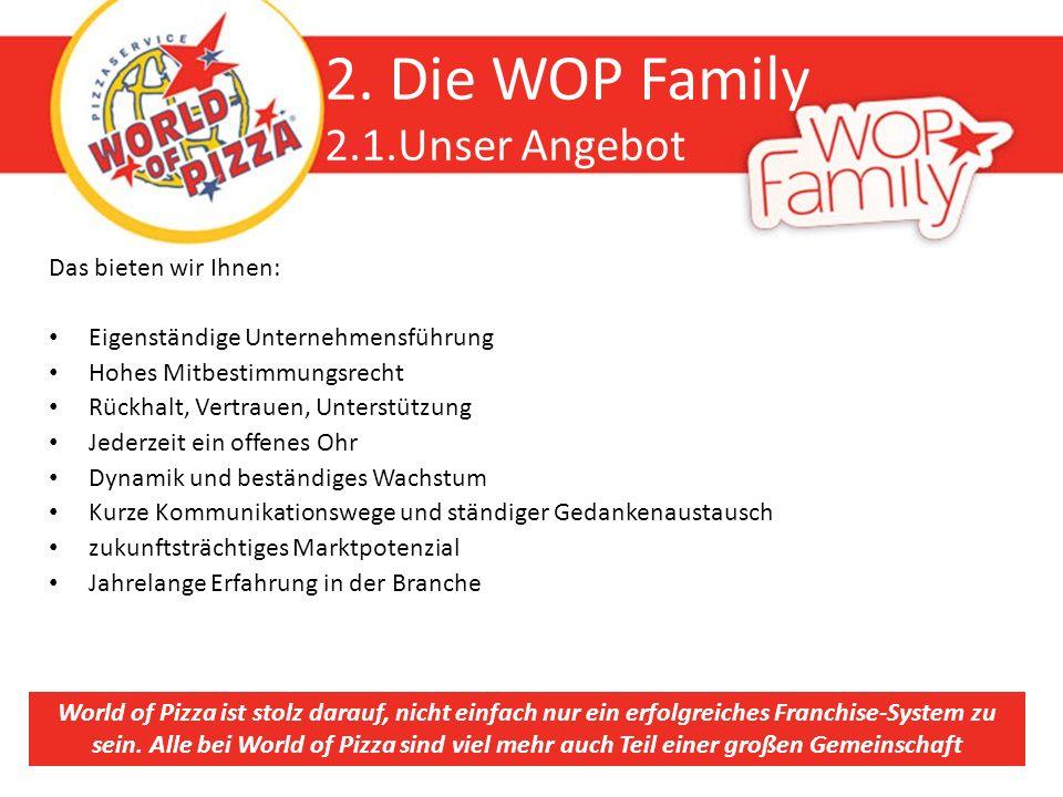 2. Die WOP Family 2.1.Unser Angebot Das bieten wir Ihnen: Eigenständige Unternehmensführung Hohes Mitbestimmungsrecht Rückhalt, Vertrauen, Unterstützu