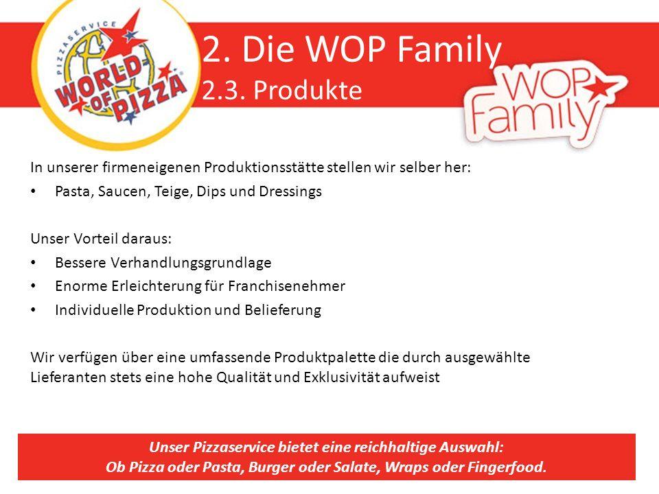 2. Die WOP Family 2.3. Produkte In unserer firmeneigenen Produktionsstätte stellen wir selber her: Pasta, Saucen, Teige, Dips und Dressings Unser Vort