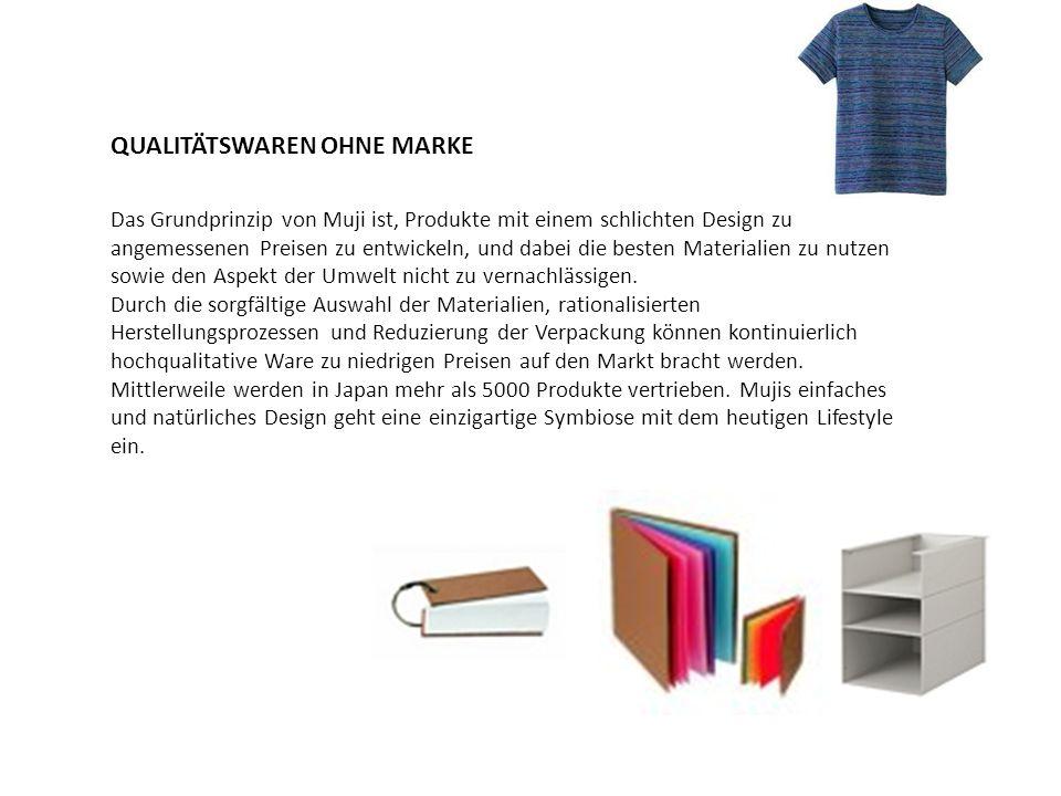 QUALITÄTSWAREN OHNE MARKE Das Grundprinzip von Muji ist, Produkte mit einem schlichten Design zu angemessenen Preisen zu entwickeln, und dabei die bes