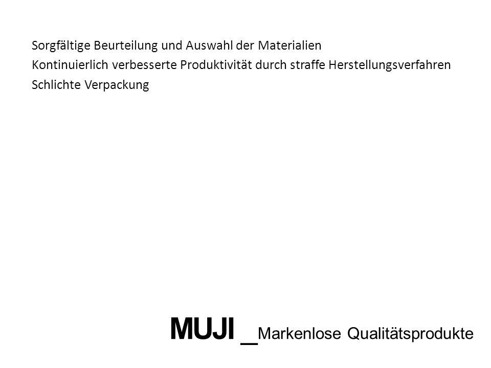 MUJI _ Markenlose Qualitätsprodukte Sorgfältige Beurteilung und Auswahl der Materialien Kontinuierlich verbesserte Produktivität durch straffe Herstel