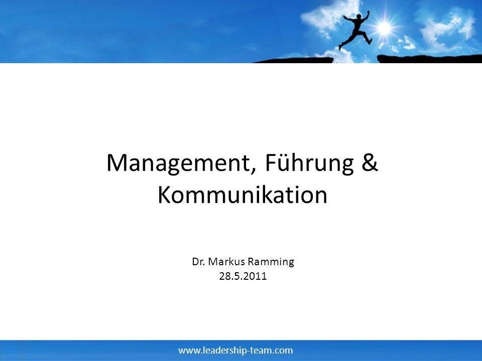 www.leadership-team.com Management, Führung & Kommunikation Dr. Markus Ramming 28.5.2011