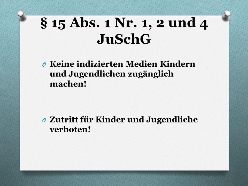 § 15 Abs. 1 Nr. 1, 2 und 4 JuSchG O Keine indizierten Medien Kindern und Jugendlichen zugänglich machen! O Zutritt für Kinder und Jugendliche verboten