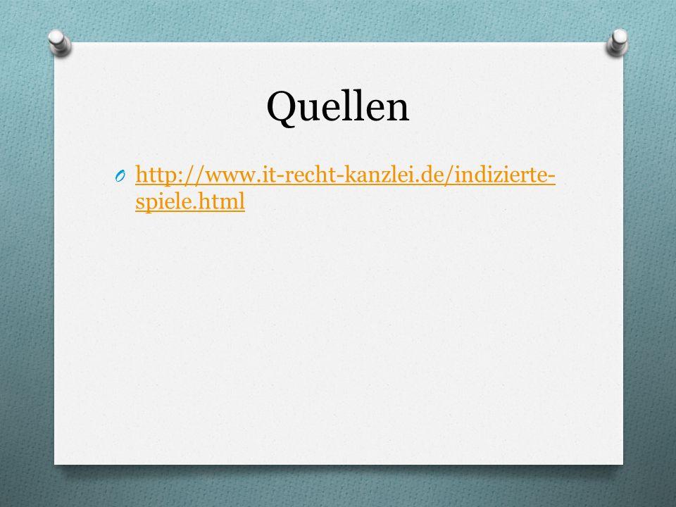 Quellen O http://www.it-recht-kanzlei.de/indizierte- spiele.html http://www.it-recht-kanzlei.de/indizierte- spiele.html