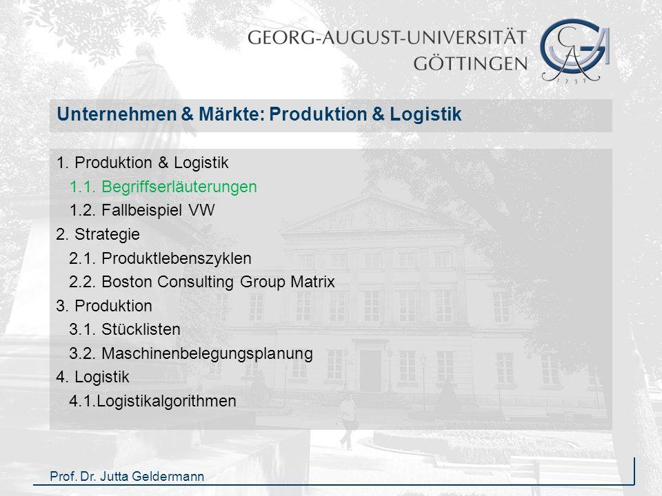 1Vorlesung Unternehmen & Märkte (Prof. Dr. J. Geldermann, WS 2009/10) 1Produktion & Logistik Unternehmen & Märkte: Produktion & Logistik 1. Produktion
