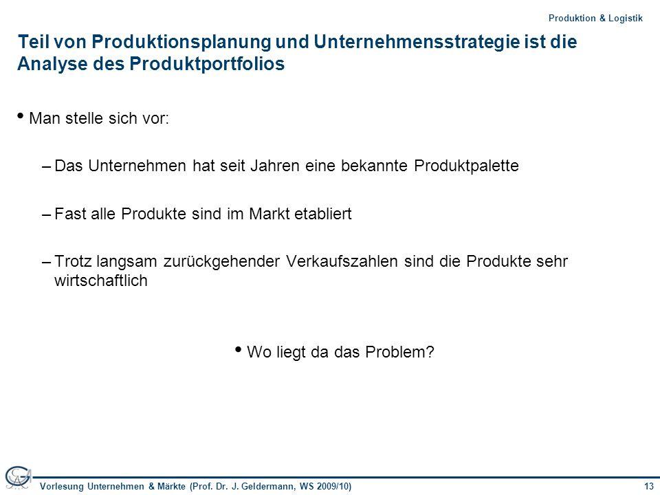 13Vorlesung Unternehmen & Märkte (Prof. Dr. J. Geldermann, WS 2009/10) 13Produktion & Logistik Teil von Produktionsplanung und Unternehmensstrategie i