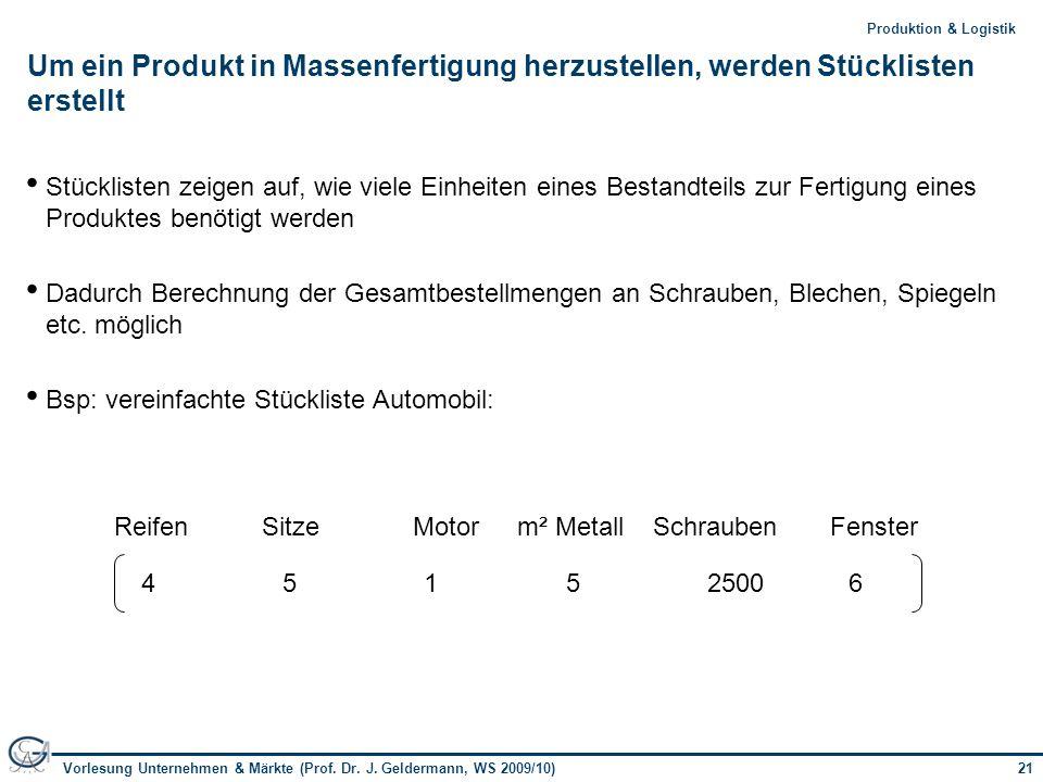 21Vorlesung Unternehmen & Märkte (Prof. Dr. J. Geldermann, WS 2009/10) 21Produktion & Logistik Um ein Produkt in Massenfertigung herzustellen, werden