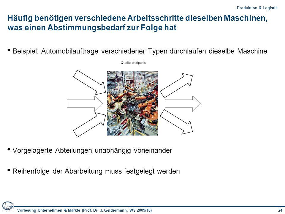 24Vorlesung Unternehmen & Märkte (Prof. Dr. J. Geldermann, WS 2009/10) 24Produktion & Logistik Häufig benötigen verschiedene Arbeitsschritte dieselben