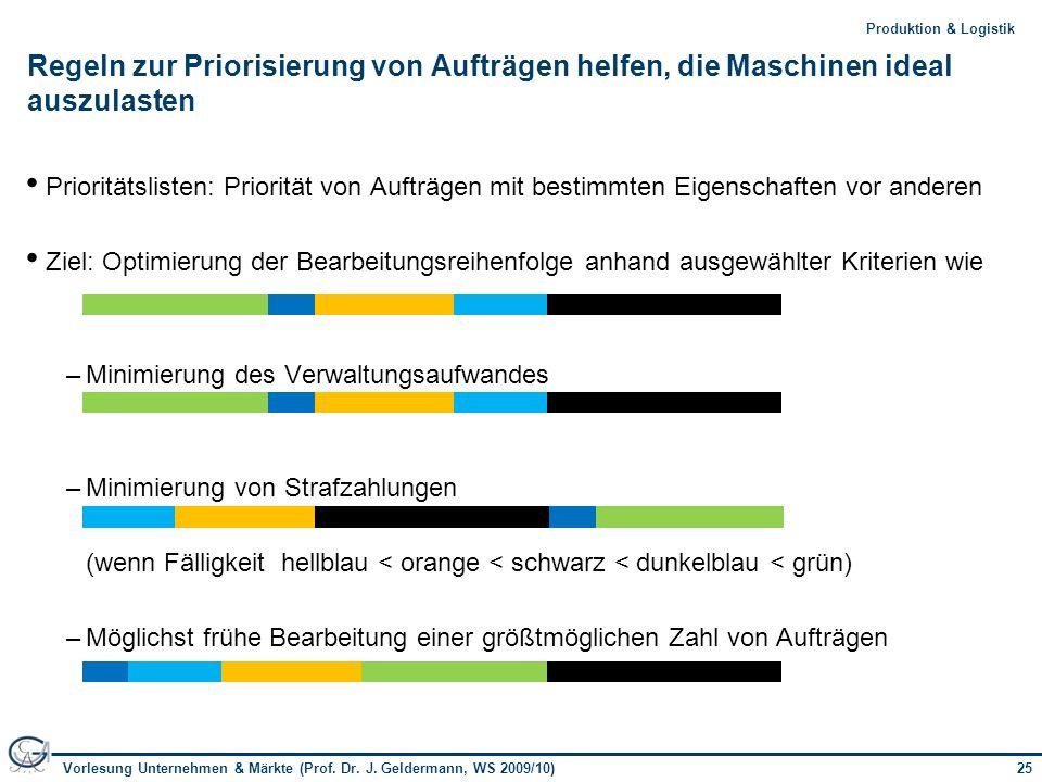 25Vorlesung Unternehmen & Märkte (Prof. Dr. J. Geldermann, WS 2009/10) 25Produktion & Logistik Regeln zur Priorisierung von Aufträgen helfen, die Masc