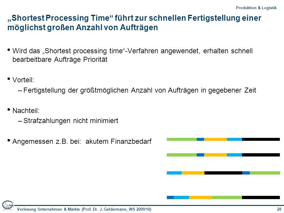 28Vorlesung Unternehmen & Märkte (Prof. Dr. J. Geldermann, WS 2009/10) 28Produktion & Logistik Shortest Processing Time führt zur schnellen Fertigstel