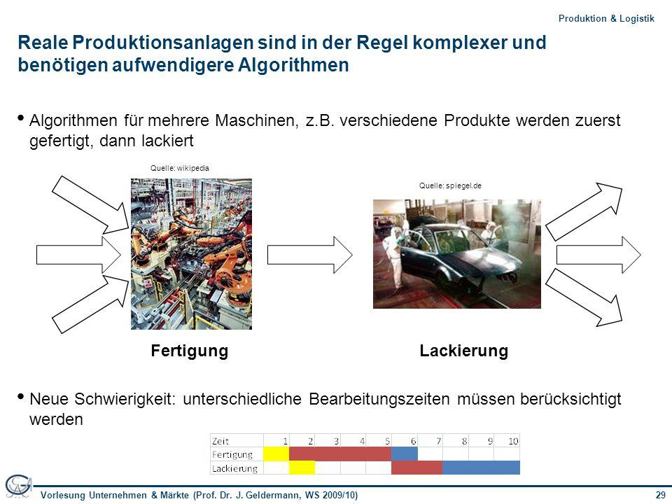 29Vorlesung Unternehmen & Märkte (Prof. Dr. J. Geldermann, WS 2009/10) 29Produktion & Logistik Reale Produktionsanlagen sind in der Regel komplexer un