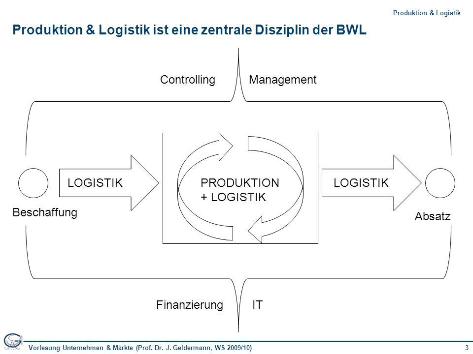 3Vorlesung Unternehmen & Märkte (Prof. Dr. J. Geldermann, WS 2009/10) 3Produktion & Logistik Produktion & Logistik ist eine zentrale Disziplin der BWL