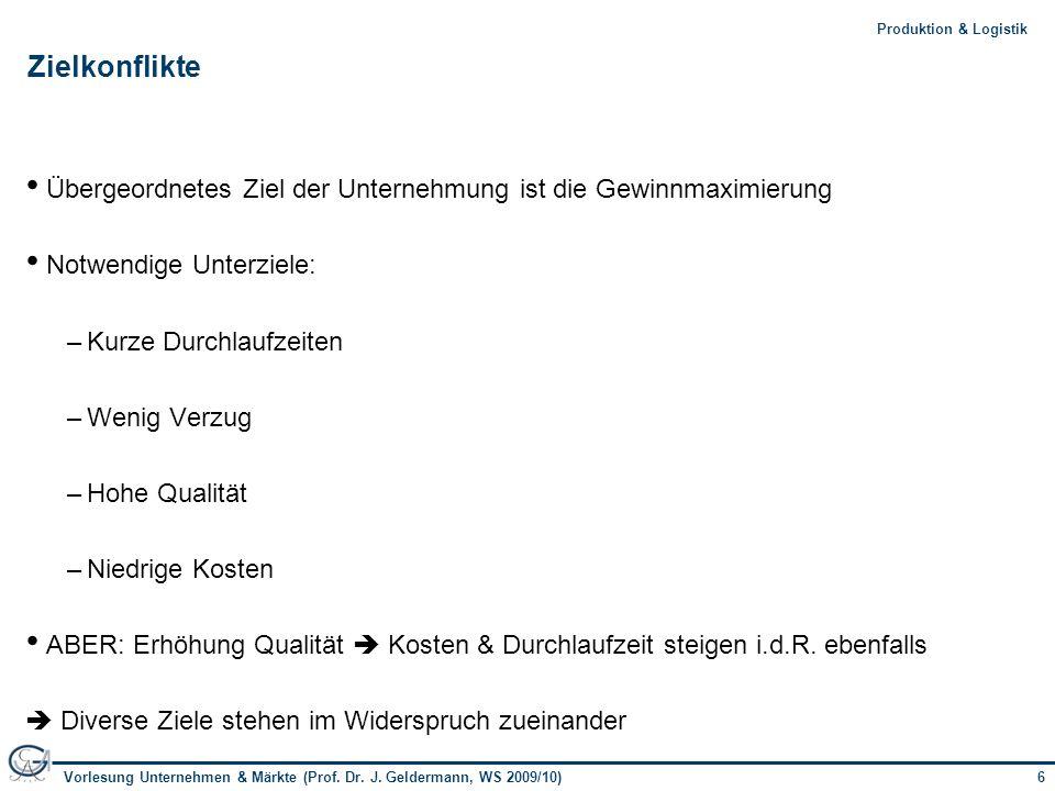 6Vorlesung Unternehmen & Märkte (Prof. Dr. J. Geldermann, WS 2009/10) 6Produktion & Logistik Zielkonflikte Übergeordnetes Ziel der Unternehmung ist di