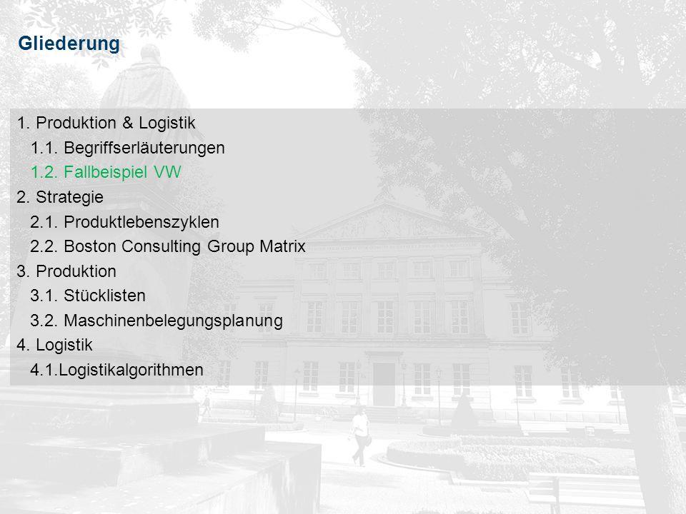 8Vorlesung Unternehmen & Märkte (Prof. Dr. J. Geldermann, WS 2009/10) 8Produktion & Logistik Gliederung 1. Produktion & Logistik 1.1. Begriffserläuter