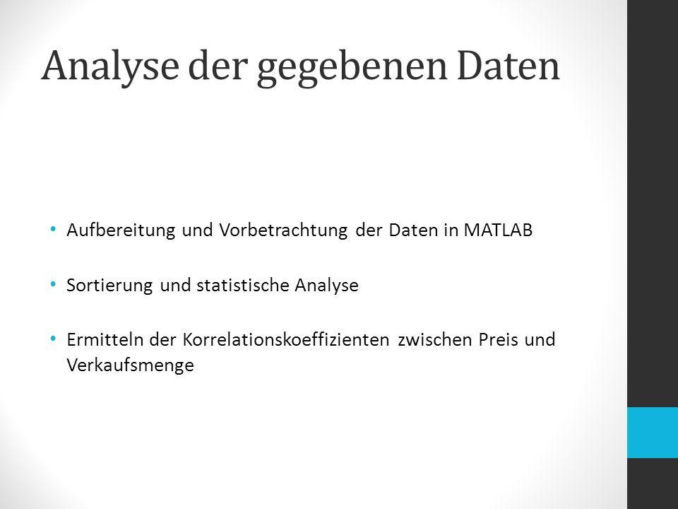 Analyse der gegebenen Daten Aufbereitung und Vorbetrachtung der Daten in MATLAB Sortierung und statistische Analyse Ermitteln der Korrelationskoeffizienten zwischen Preis und Verkaufsmenge