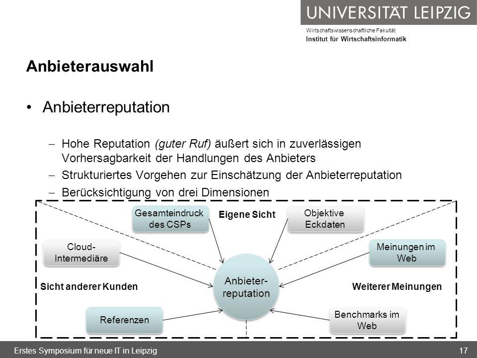 Wirtschaftswissenschaftliche Fakultät Institut für Wirtschaftsinformatik Anbieterauswahl Anbieterreputation Hohe Reputation (guter Ruf) äußert sich in