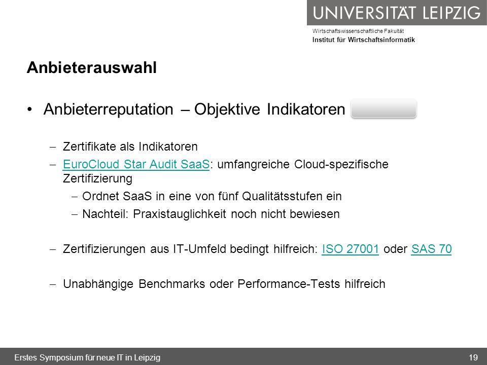 Wirtschaftswissenschaftliche Fakultät Institut für Wirtschaftsinformatik Anbieterreputation – Objektive Indikatoren Zertifikate als Indikatoren EuroCl