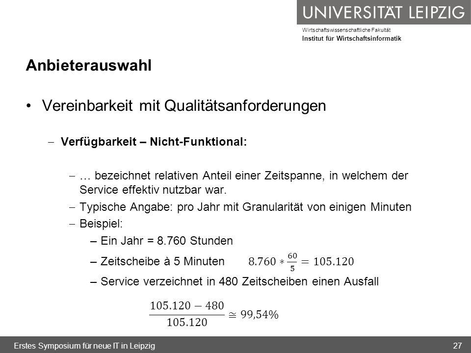 Wirtschaftswissenschaftliche Fakultät Institut für Wirtschaftsinformatik Anbieterauswahl Erstes Symposium für neue IT in Leipzig27