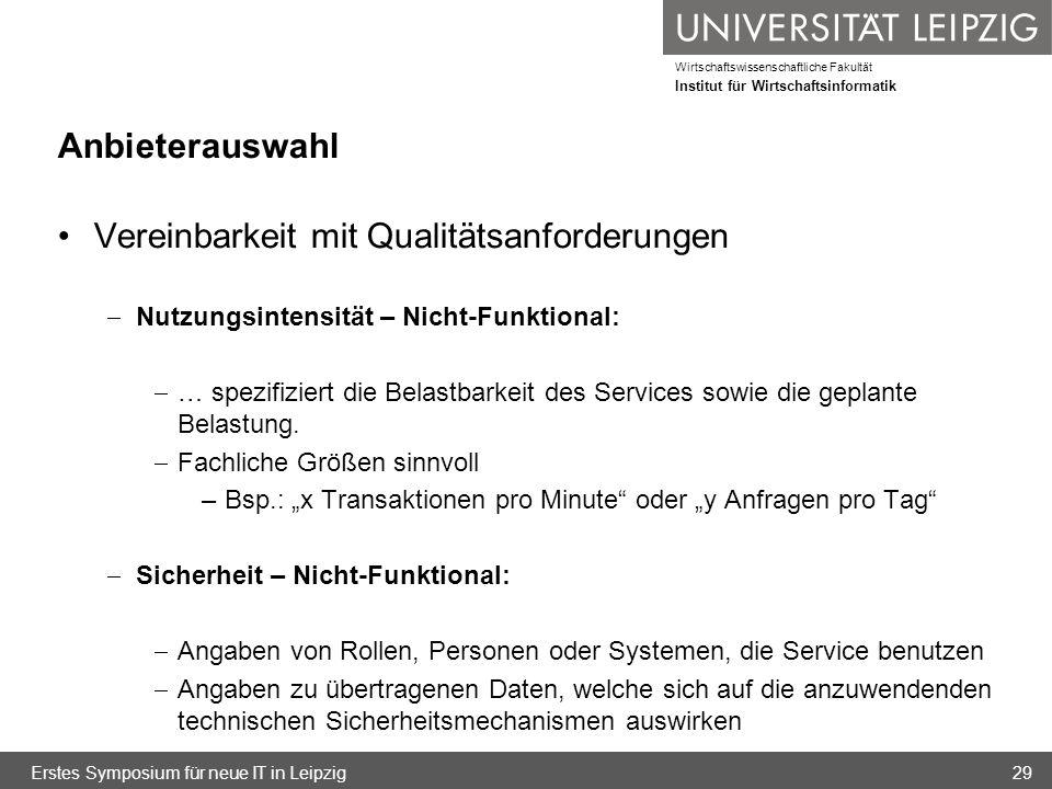 Wirtschaftswissenschaftliche Fakultät Institut für Wirtschaftsinformatik Anbieterauswahl Vereinbarkeit mit Qualitätsanforderungen Nutzungsintensität –