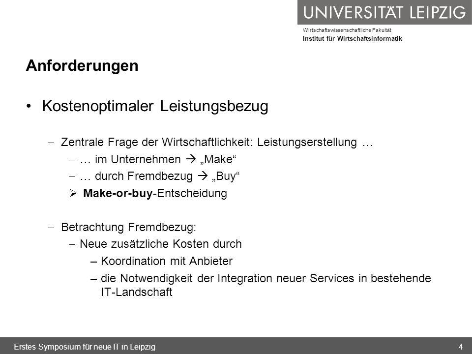Wirtschaftswissenschaftliche Fakultät Institut für Wirtschaftsinformatik Zusammenfassende Betrachtung der Sourcing-Modelle Relevante Kostenfaktoren für Bereitstellung im eigenen Rechenzentrum, Cloud-Sourcing und klassisches IT-Outsourcing im Vergleich (Teil 2) Erstes Symposium für neue IT in Leipzig65