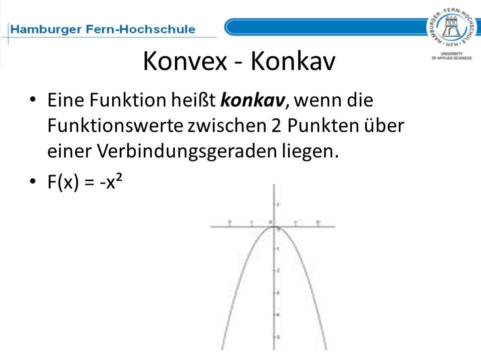 Konvex - Konkav Eine Funktion heißt konkav, wenn die Funktionswerte zwischen 2 Punkten über einer Verbindungsgeraden liegen. F(x) = -x²