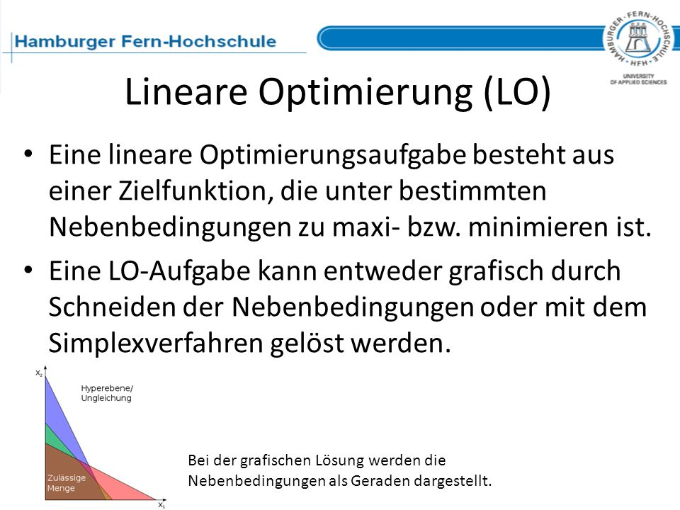 Lineare Optimierung (LO) Eine lineare Optimierungsaufgabe besteht aus einer Zielfunktion, die unter bestimmten Nebenbedingungen zu maxi- bzw. minimier