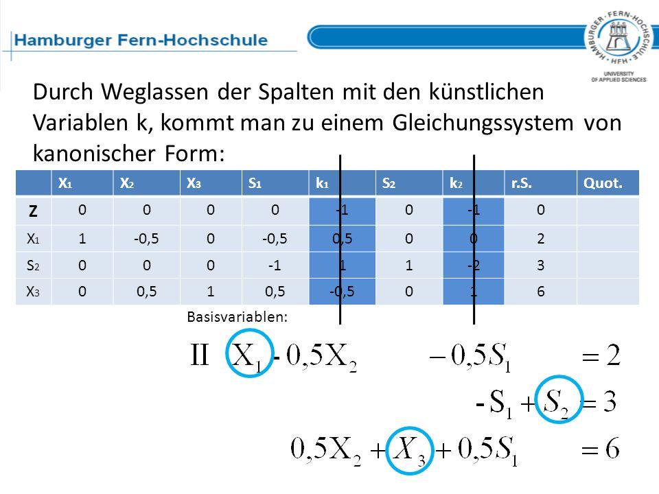 Durch Weglassen der Spalten mit den künstlichen Variablen k, kommt man zu einem Gleichungssystem von kanonischer Form: X1X1 X2X2 X3X3 S1S1 k1k1 S2S2 k